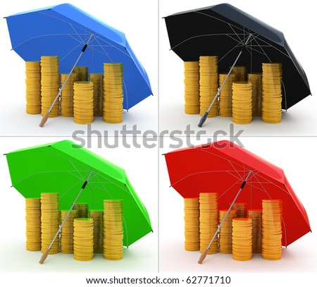 Piles of golden coins under an umbrella isolated on white 4 colors set - stock photo