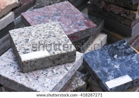 piles of granite slab - stock photo