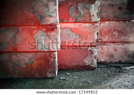 piles of hot iron blocks in foundry. Narrow focus on central block - stock photo