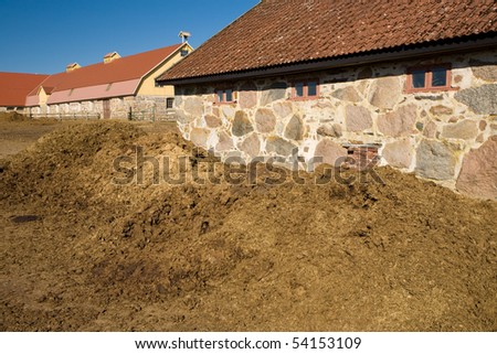 Piles of manure at a barnyard - stock photo