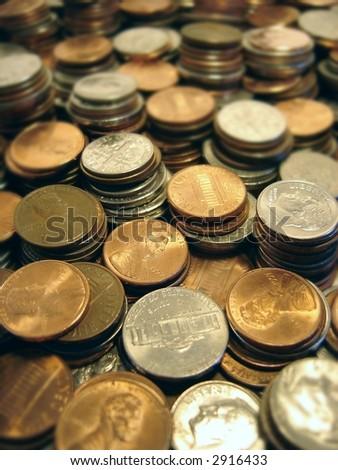 piles of money - stock photo