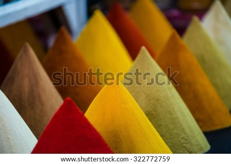 piles of spices on a moroccan market - stock photo