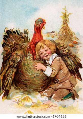 Pilgrim Boy Hugging Thanksgiving Turkey - a 1911 vintage illustration - stock photo