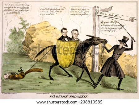Pilgrims' progress', ex-Pres. Andrew Jackson leading the Democratic Party Donkey carries James K. Polk and George Dallas to political disaster in the election of 1844. Watercolored engraving, 1844. - stock photo