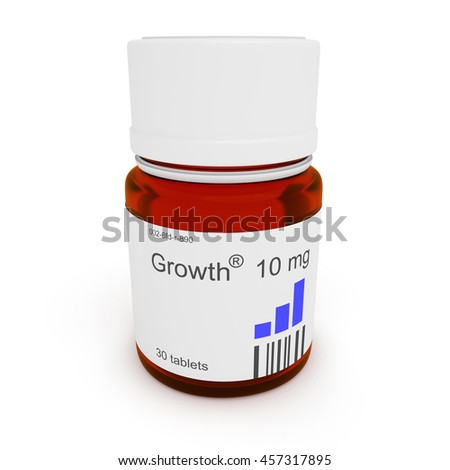 Pill bottle: Growth, 10 mg, 3d illustration