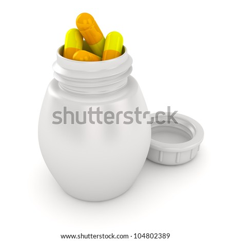 Pill bottle overflowing with medical capsules - stock photo