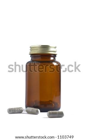 Pill Bottle & Scattered Pills - stock photo