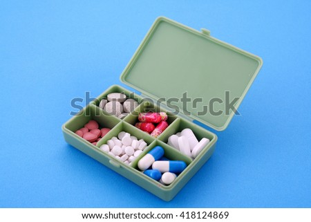 Pill box on blue background