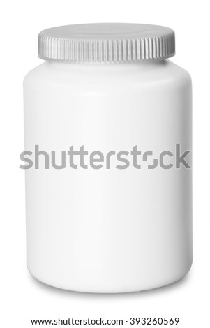 pill box unlabeled for medicine isolated on white background - stock photo