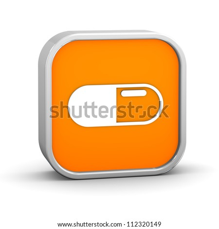 Pill Capsule sign on a white background. Part of a series. - stock photo