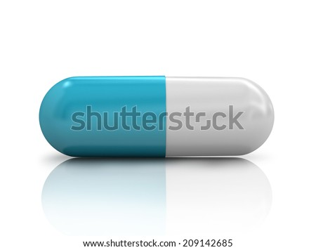pill isolated with reflection