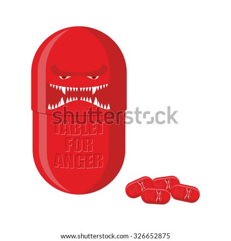 Pill of anger. Red Tablet with a scary face. Medicine with for ferocity.   - stock photo