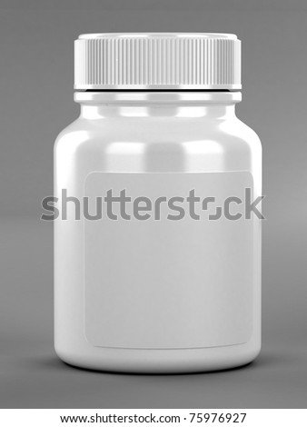 Pill's container with label on gray background - stock photo