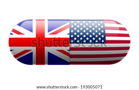 Pill wrapped in Union Jack and USA Flags - stock photo
