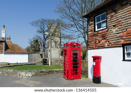 Pillar box and phone box at Lydd in Kent. UK - stock photo