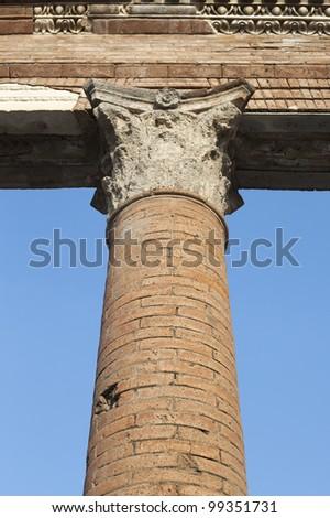 Pillar in Pompeii ruins, Italy. - stock photo