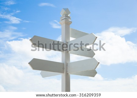 Pillar Point. Pylon signs a white background for text input. Behind the clear skies - stock photo