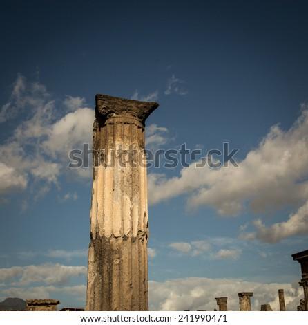 pillar pompeii - stock photo