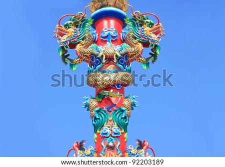 Pillar two Dragons. - stock photo