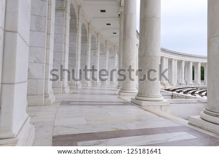 Pillars and Arch Hallway - stock photo