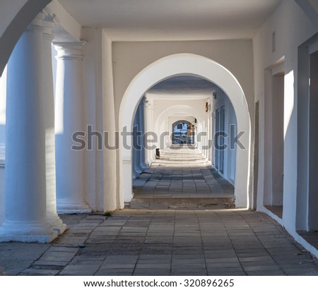 Pillars and Arch Hallway perspective Russia Suzdal