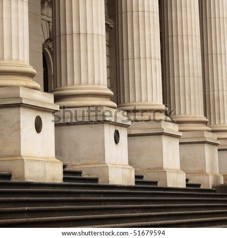Pillars and steps at Victoria's Parliament - stock photo