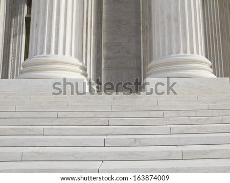 Pillars and Steps, supreme court, Washington DC, United States of America - stock photo