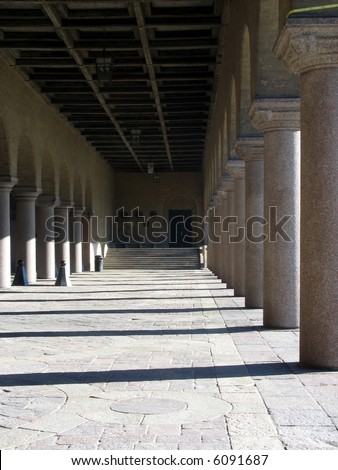 Pillars at an entrance to a giant beautiful building