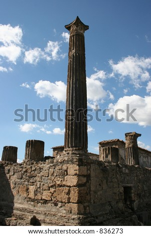 Pillars at Pompeii, Italy.  Date back to 79AD.