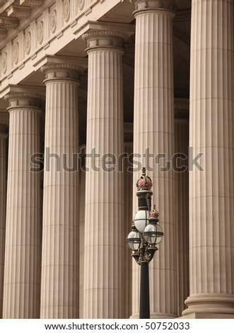 Pillars  at Victoria's Parliament - stock photo