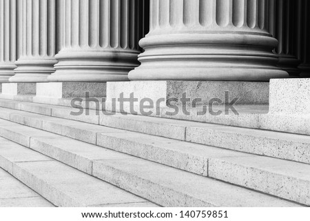 Pillars Black and White - stock photo