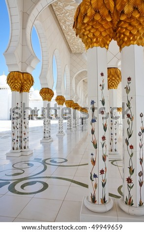 Pillars (details and decoration) of Sheikh Zayed Mosque, Abu Dhabi, United Arab Emirates - stock photo