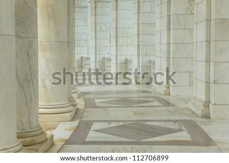 Pillars in a Hallway - stock photo