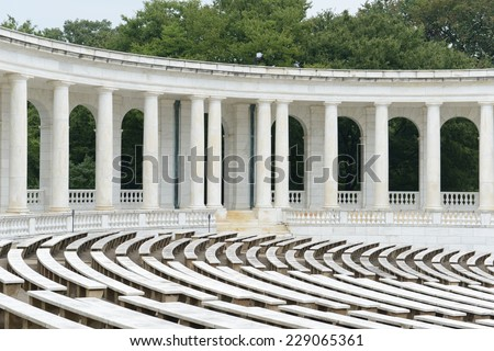 Pillars in the back of an amphitheater - stock photo