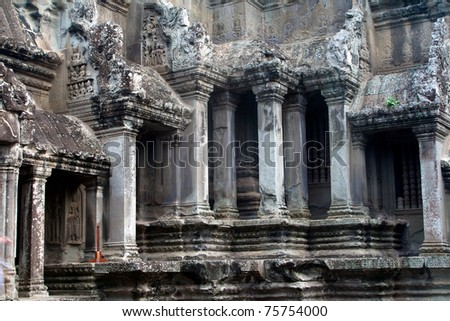 Pillars in the great angkor wat temple near Siem Reap, Cambodia. One of the most fascinating places and a world heritage site.