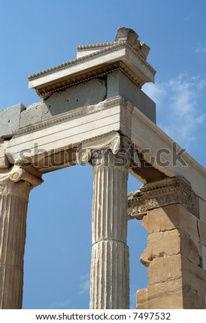 Pillars of a Greek temple on the Acropolis