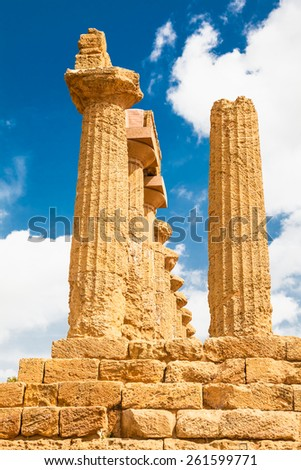 Pillars of Ercole temple in the Valley of the Temples, Agrigento, Sicily island, Italy - stock photo