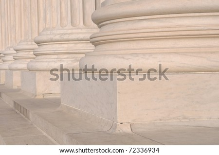 Pillars of Law and Justice located at the Supreme Court of the United States of America - stock photo