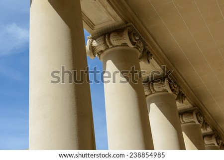 Pillars of Law and Justice with Blue Sky - stock photo