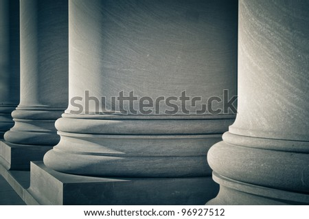 Pillars of Law, Education and Government - stock photo