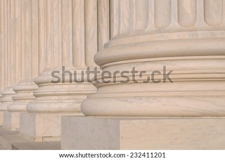 Pillars of Law of the Supreme Court of the United States of America - stock photo