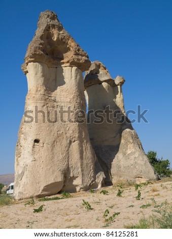 Pillars of rock in Cappadocia in Turkey - stock photo