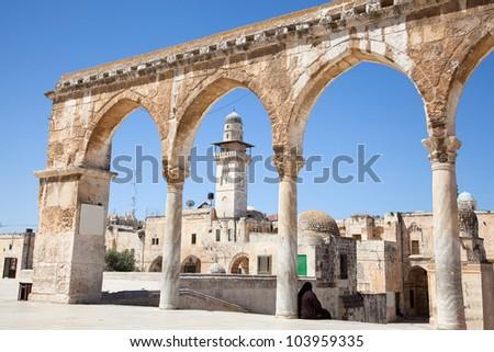 Pillars of Temple Mount (Har Ha-Bayit) in Old City of Jerusalem. Israel - stock photo