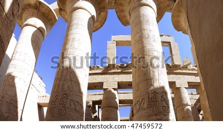 Pillars of the Great Hypostyle Hal. Luxor. Egypt.