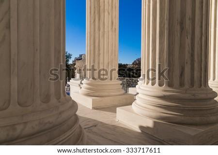 Pillars of the Supreme Court of U.S. - stock photo