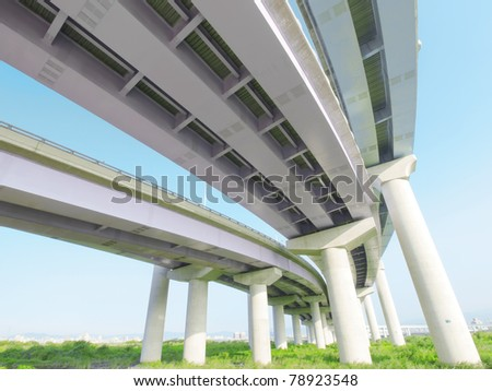 Pillars of viaduct - stock photo