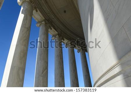 Pillars on the Jefferson Memorial - stock photo