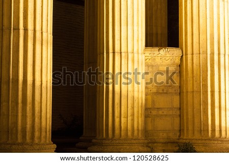 Piller of the Palace of fine Arts at night in San Francisco