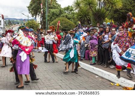 Pilllaro, ECUADOR - FEBRUARY 6, 2016: Unknown locals and tourists dance and celebrate the feast of the diabladas Pillaro. - stock photo