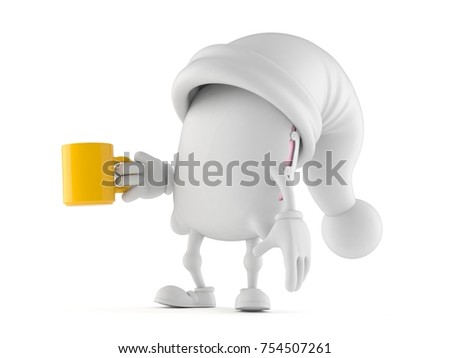 Pillow character with mug isolated on white background